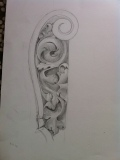 Drawing: Detail of acanthus scroll on coat of arms, in pencil