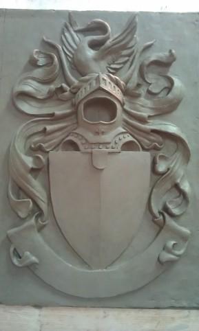 Modelling & Casting: Clay relief, interpretation of Heraldic Shield design