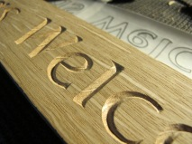 Wood carving: Lettering carved in Oak